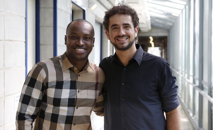 Thiaguinho e Felipe Andreoli são total fechamento. Ainda mais no Dia do Amigo! (Foto: Ellen Soares/Gshow)