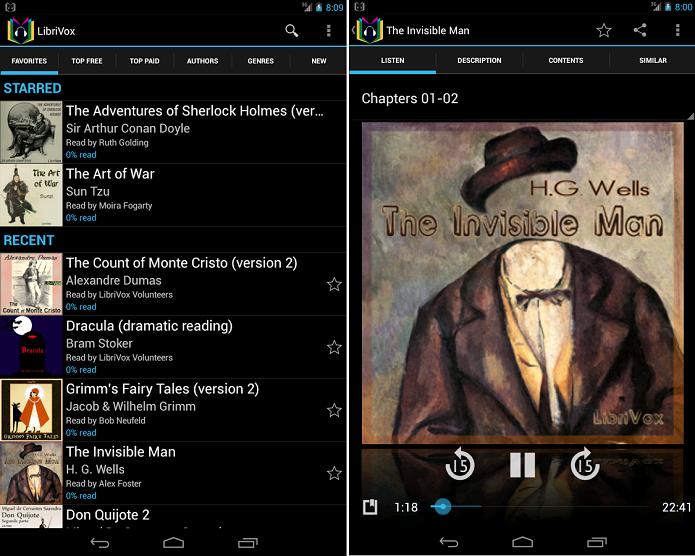 LibriVox é um aplicativo de leitura de audiobook (Foto: Divulgação/LibriVox)