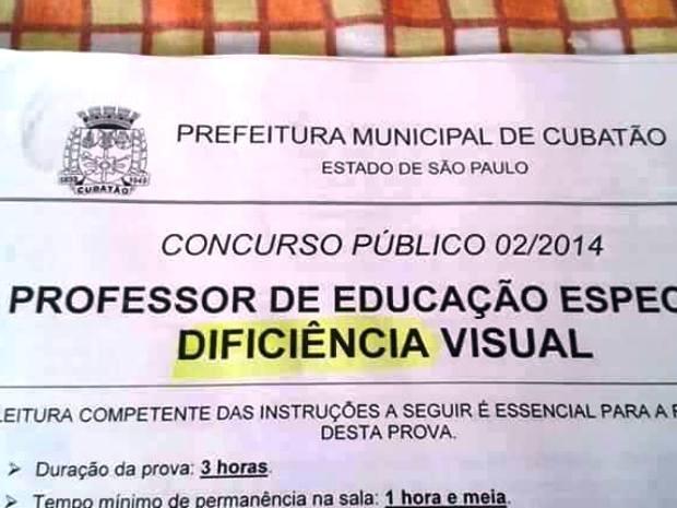 Palavra deficiência foi trocada por 'dificiência' em concurso público (Foto: Reprodução / Facebook)