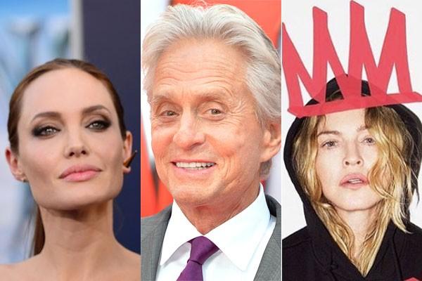 Angelina Jolie, Michael Douglas e Madonna, cujos divócios envolveram ou envolverão grandes cifras (Foto: Getty e divulgação)