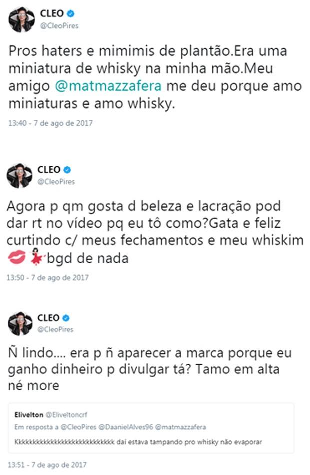 Cleo Pires responde internautas no Twitter (Foto: Reprodução/Twitter)