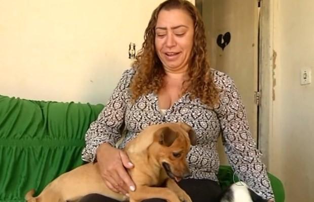 Eudas cuida de cães abandonados em Luziânia, Gpoás (Foto: Reprodução/ TV Anhanguera)