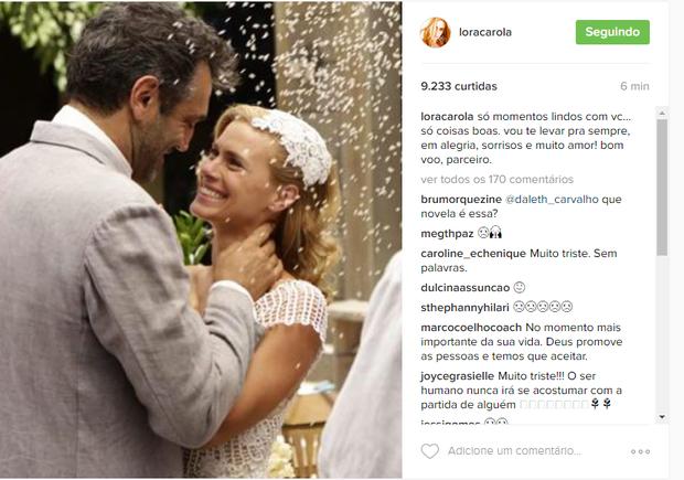 Carolina Dieckmann fez post para lamentar morte de Domingos (Foto: Reprodução/Instagram)