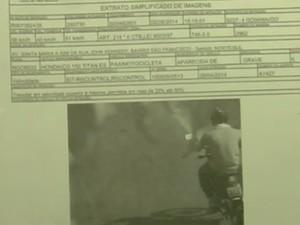 Tiago foi multado minutos depois de assassinar Ana Lídia em Goiânia, Goiás (Foto: Reprodução/ TV Anhanguera)