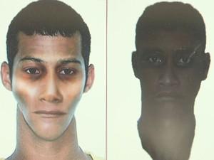 Polícia Civil divulga retrato falado de suspeitos que mataram Luann Oshiro (Foto: Reprodução / Tv Tribuna)