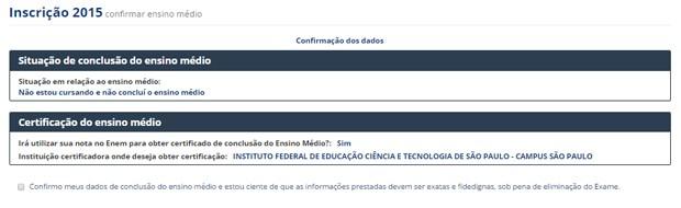Formulário do Enem 2015 - informações do ensino médio (Foto: Reprodução)