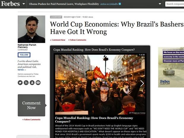 Forbes faz análise da economia dos paises da América Latina por conta da Copa