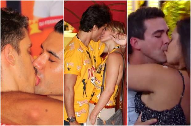 Beija eu!!! Theodoro Cochrane, Paula Burlamaqui e André Marques causam polêmica com beijos (Foto: Juci Ribeiro e Raphael Castello/Divulgação/Schin/Reprodução)