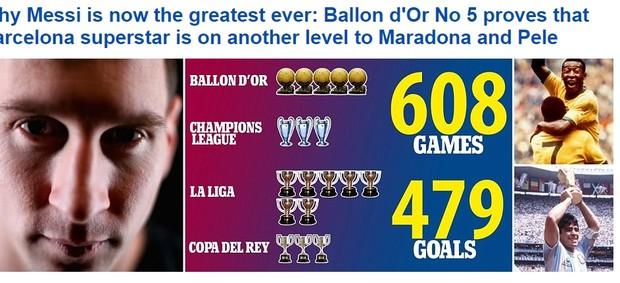 Jornal inglês coloca Messi em nível acima de Maradona e Pelé