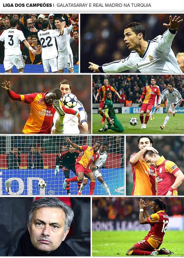 Mosaico Real Madrid Galatsaray Liga dos Campeões 2 (Foto: Editoria de Arte / Globoesporte.com)