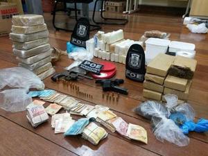Droga apreendida junto à quadrilha no RS (Foto: Ministério Público Divulgação )