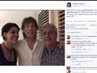 Caetano Veloso mostra foto com Mick Jagger no Brasil: 'Noite de cantoria'