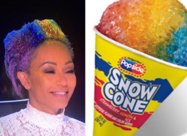 Mel B vira meme com cabelos multicoloridos (Foto: Reprodução/Twitter)