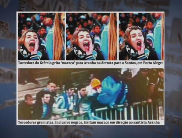Jornal Folha de S.Paulo mostra torcedores ofendendo o goleiro Aranha, do Grêmio (Foto: Reprodução SporTV)