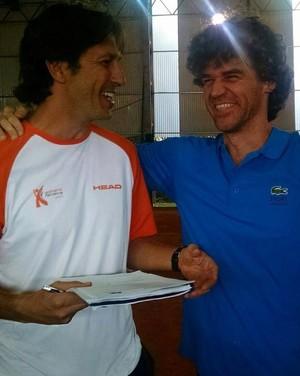 Adriano Ferreira e Gustavo Kuerten (Foto: Arquivo Pessoal / Adriano Ferreira)