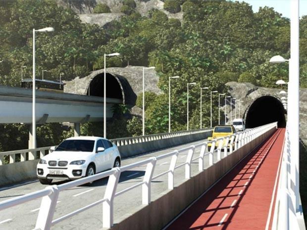 Ligação entre São Conrado e Barra terá nova pista e contará com ciclovia (Foto: Divulgação/Prefeitura)