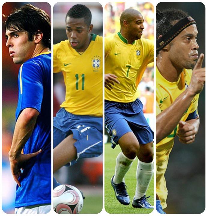 kaká, robinho, adriano e ronaldinho gaúcho: a geração perdida da seleção brasileira (Foto: montagem)