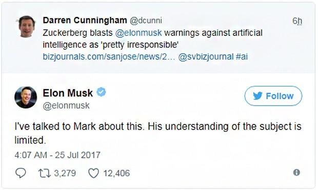 Elon Musk: Eu falei com Mark sobre o assunto. O entendimento dele é limitado (Foto: Reprodução/Twitter)