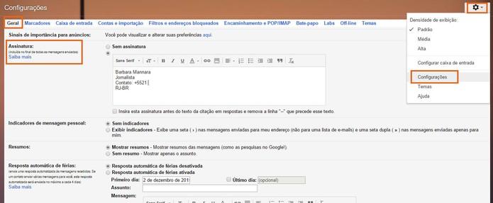 Personalize a assinatura de e-mail no Gmail (Foto: Reprodução/Barbara Mannara)