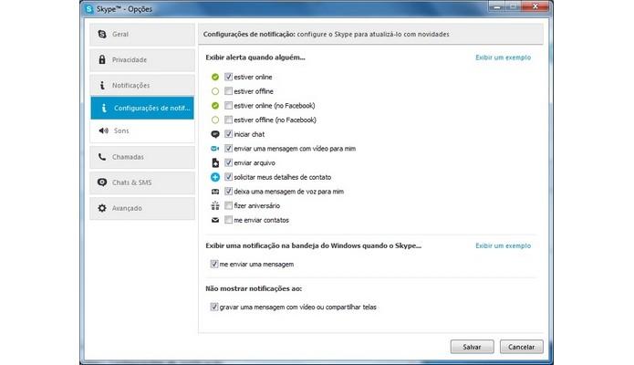 Configurações de notificação do Skype (Foto: Reprodução/Raquel Freire)