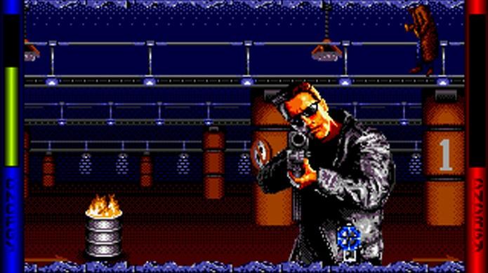 Em sua época, Terminator 2: The Arcade Game foi elogiado por usar as armas Super Scope e Menacer (Foto: Reprodução/Abandonia)