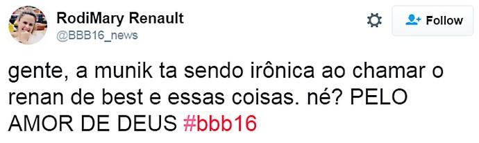 munik ironica - domingo dia13 twitter (Foto: TV Globo)
