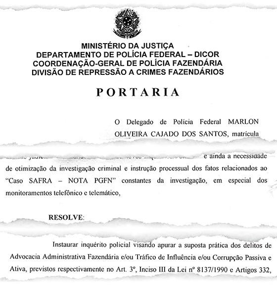 Portaria da PF enquadra investigação do banco Safra como corrupção e tráfico de influência (Foto: Reprodução)