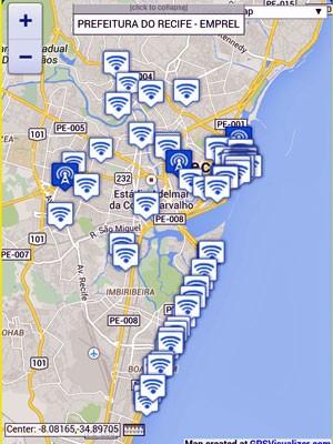 Site do projeto traz lista completa com locais de acesso (Foto: Reprodução / Prefeitura do Recife)