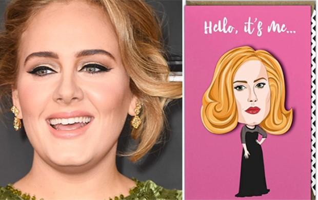 Adele e cartão de loja (Foto: Getty Images/Reprodução/The Sun)