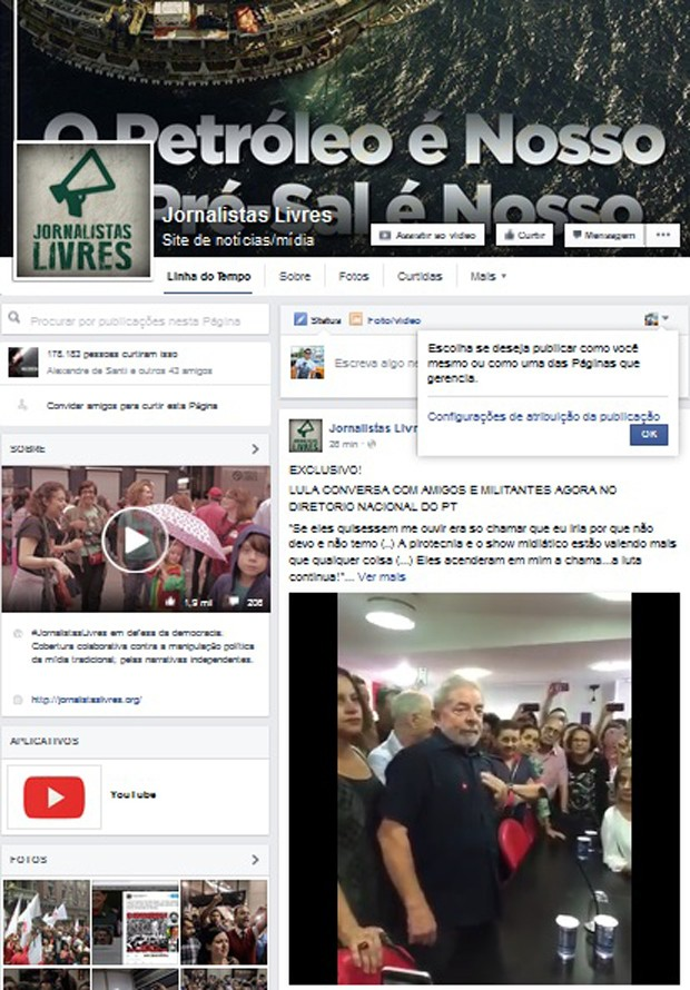 Página do site Jornalistas Livres no Facebook reproduz trecho de pronunciamento do ex-presidente Lula  (Foto: Reprodução / Facebook)