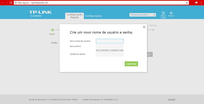 Crie um novo nome de usuário e senha para o extensor (Foto: Reprodução/Isabela Giantomaso)