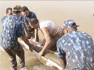 Peixe pirosca foi resgatado no Parque Cesamar por homens na guarda ambiental de Palmas (Foto: Reprodução/TV Anhanguera)