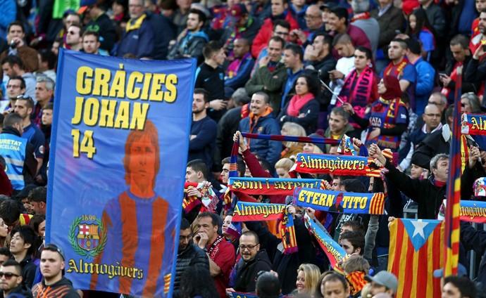 Camp Nou homenagem Cruyff Barcelona x Real Madrid (Foto: EFE)