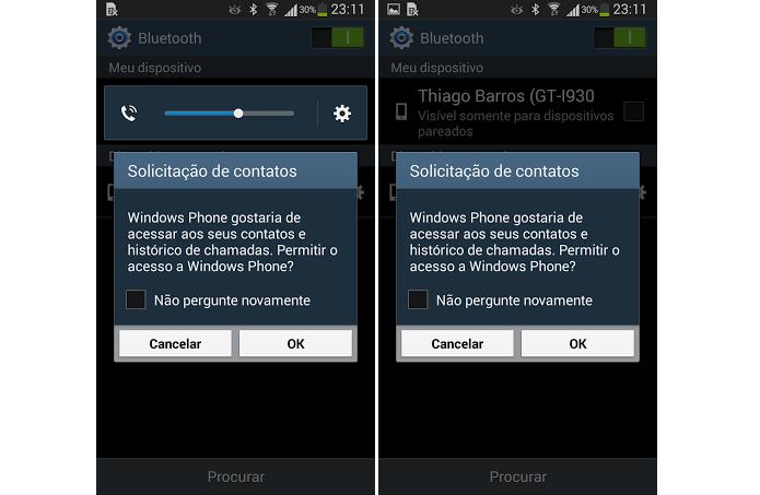 Basta autorizar a sincronização pelo Android (Foto: Reprodução/Thiago Barros)