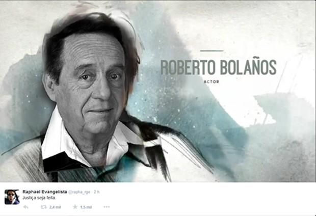 Internautas fazem montagem com rosto de Bolaños em arte do Oscar. (Foto: Reprodução/Twitter/Raphael Evangelista )