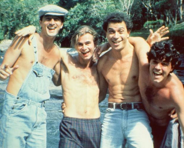Vitti ao lado de Eduardo Galvão, Felipe Camargo e Paulo Gorgulho (Foto: Cedoc / TV Globo)