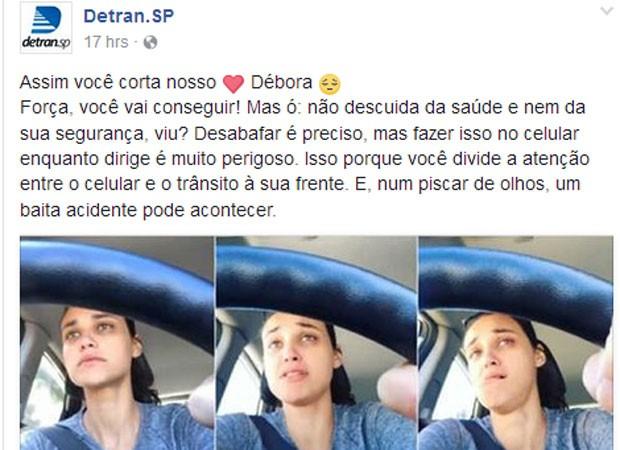 Detran dá bronca em Debora Nascimento (Foto: Reprodução)