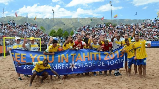 Brasil terceiro lugar nas eliminatórias futebol de areia (Foto: Divulgação/CBBS)