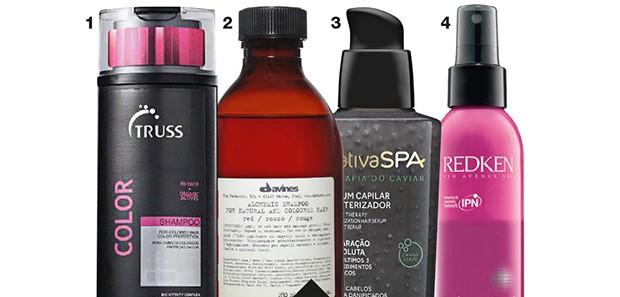 1. Shampoo Color, Truss, R$ 78 2. Shampoo Alchemic System, Davines, R$ 144 3. Sérum Capilar Cauterizador Nativa Spa, O Boticário, R$ 80  4. Leave-In Radiant-10, Redken, R$ 130 (Foto: Reprodução )