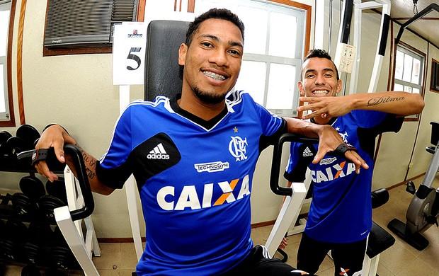 Hernane e Rafinha treino Flamengo (Foto: Alexandre Vidal / Fla Imagem)