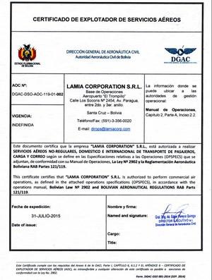 Certificado da empresa Lamia na Bolívia (Foto: Reprodução)