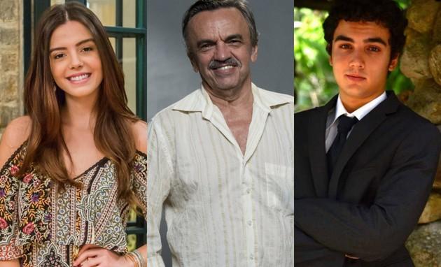 Giovanna Lancellotti, José Dumont e Gabriel Contente (Foto: TV e Divulgação)