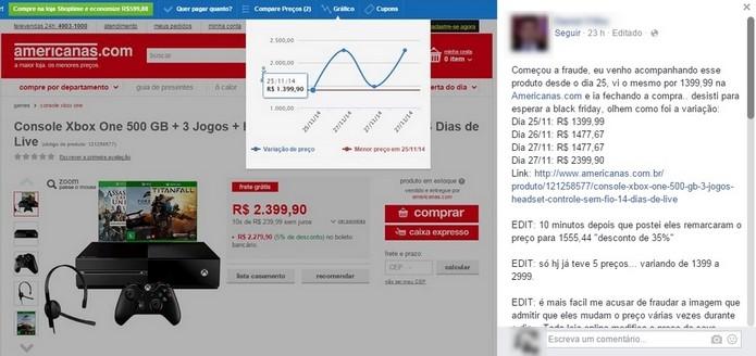 Usuário do Facebook protesta contra Black Friday mostrando gráfico de preço dos últimos dias (Foto: Reprodução/Facebook)