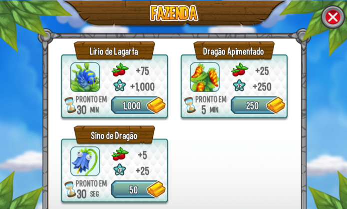 Dragon City: quanto mais caro for o item, mais comida ele lhe dará depois de pronto (Foto: Reprodução/Paulo Vasconcellos)