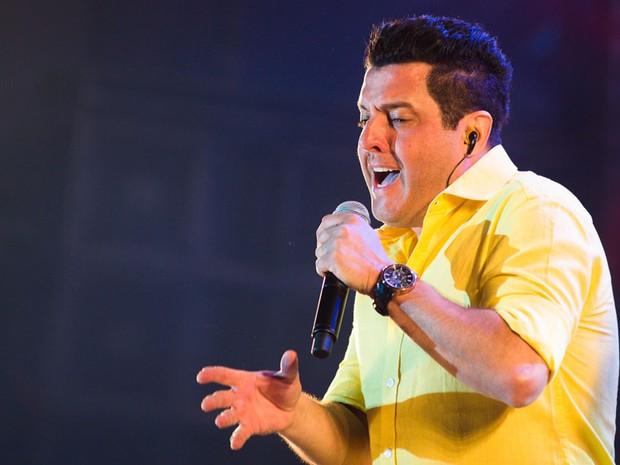 Bruno no palco da Festa do Peão de Barretos  (Foto: Érico Andrade/G1)