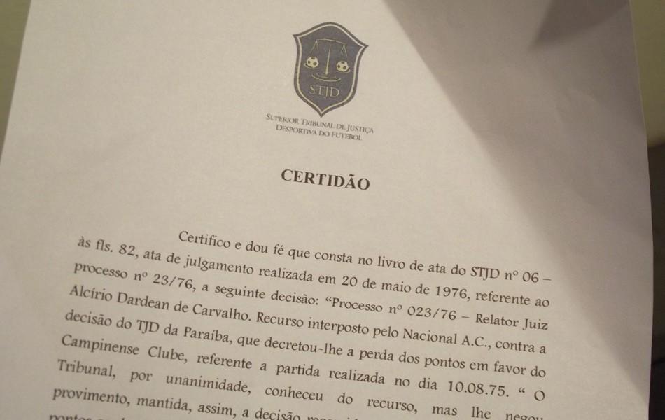 Campinense, documento do STJD  (Foto: Silas Batista)