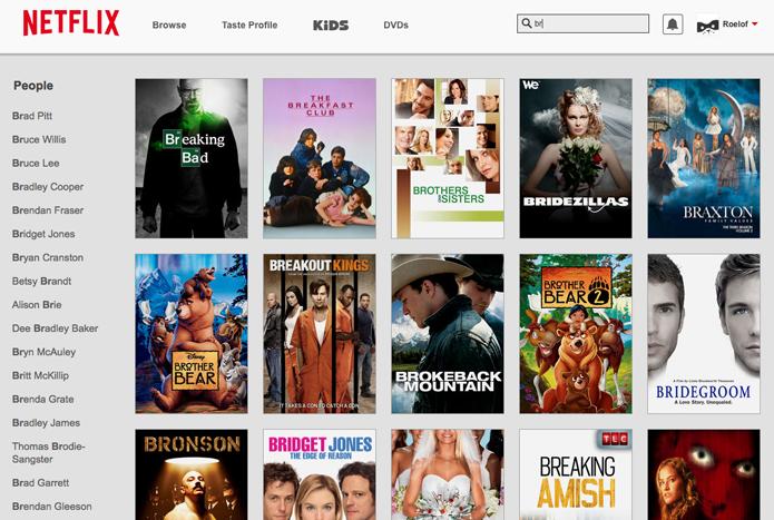 Nova busca do Netflix exibe resultados conforme o texto é digitado no site (foto: Reprodução/Netflix)