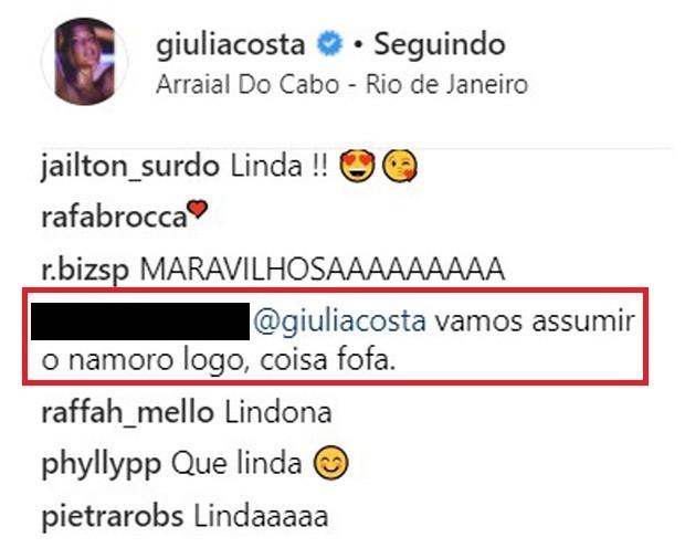 Giulia Costa recebe pedido de namoro de fã (Foto: Reprodução/Instagram)