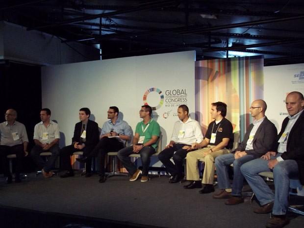 Representantes de aceleradoras de startups debatem no Congresso Global de Empreendedorismo (Foto: Lilian Quaino/G1)