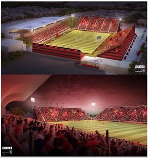 Projeto da arquibancada do Estádio Luso-Brasileiro, onde o Flamengo mandará seus jogos (Foto: Reprodução)